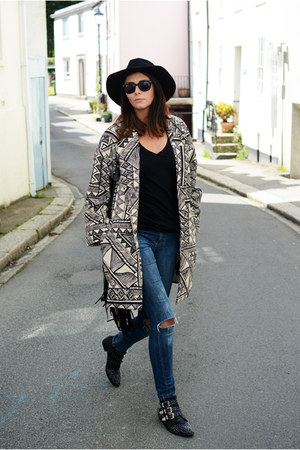 black M&S coat - black Chockers boots - navy Bershka jeans