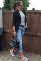 black Zara blazer - sky blue Zara jeans - black balenciaga bag
