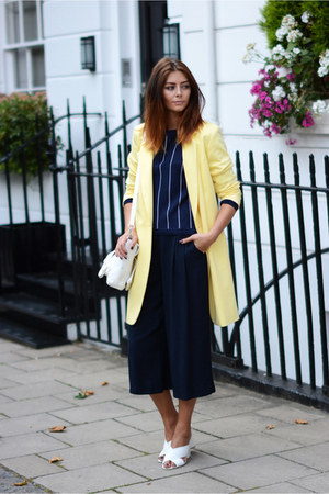 white PERSUNMALL bag - light yellow M&S coat - navy M&S jumper - white M&S heels