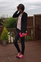 hot pink Zara bag - black Zara jeans - light pink Zara sweater