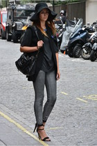 black Primark hat - silver H&M jeans - gray Zara sweater - black Zara blazer