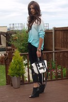 sky blue Zara sweater - black Zara boots - white Ebay bag - black Zara pants