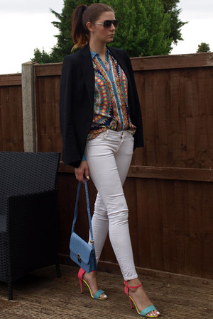 off white Zara jeans - black Zara blazer - sky blue Zara shirt