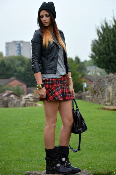 black leather biker Zara jacket - black biker Primark boots