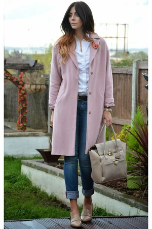 light pink Betty Jackson coat - beige River Island shoes - navy new look jeans