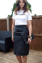 black Ebay bag - black vintage skirt - black Ebay bracelet