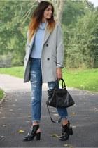 silver asos coat - black asos boots - navy Zara jeans - black balenciaga bag