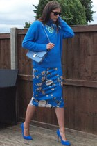 blue Zara skirt - sky blue Ebay bag - blue Nelly heels - blue Nowhere jumper