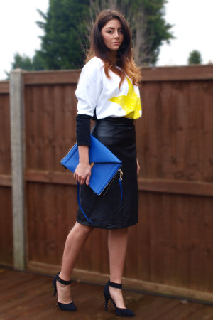 black vintage skirt - blue Zara bag - white Zara sweatshirt