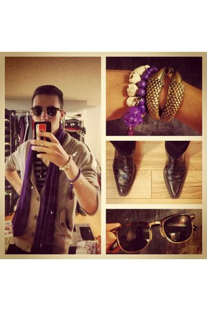 mixed arm candy bracelet - black leather ankle Spring boots - vintage sunglasses