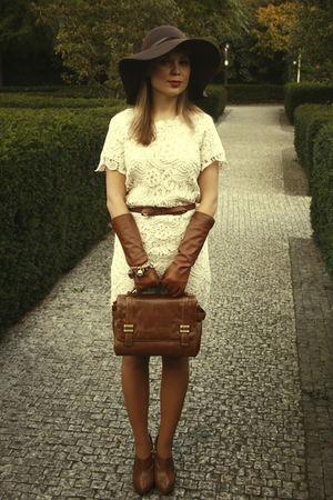 brown bag Zara bag - brown Zara shoes - beige Zara dress - brown H&M hat