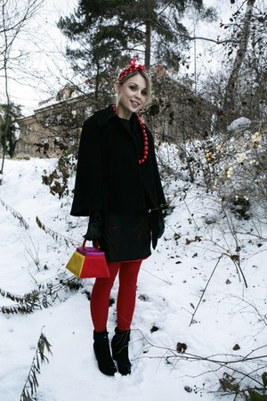 red Topshop coat - black thrifted vintage dress - ruby red Bepon stockings - bla