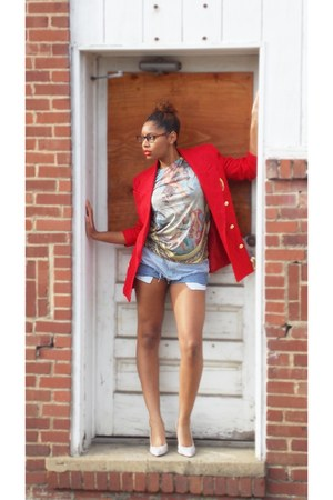 Vintage Thrifted blazer - cutoff DIY shorts - wwwetkovrcom t-shirt