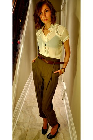 green Zara pants - white BCBG shirt - silver Steve Madden shoes - black American