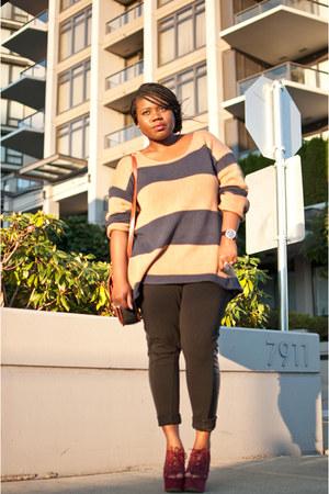 Topshop wedges - BCBG sweater - joe fresh style leggings - Michael Kors watch