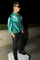 green versace shirt - black Louis Vuitton glasses - black YSL pants