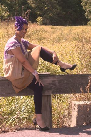 beige Belma dress - purple Le Beau Apparel leggings - purple scarf - black Rouge