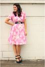 Bubble-gum-floral-vintage-dress-navy-forever-21-heels
