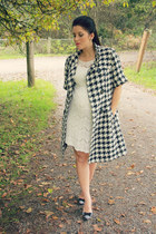 white lace Romy dress - black houndstooth JCPenney coat