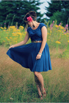 teal thrifted dress - magenta thrifted heels - aquamarine Forever 21 bracelet