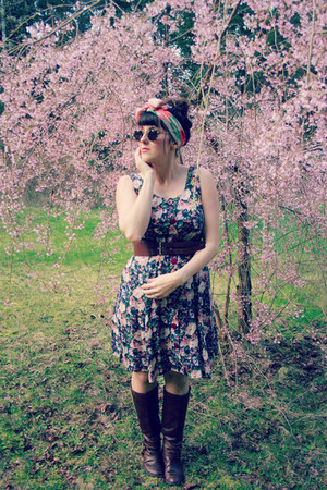 brown JCPenney boots - navy floral print thrifted vintage dress