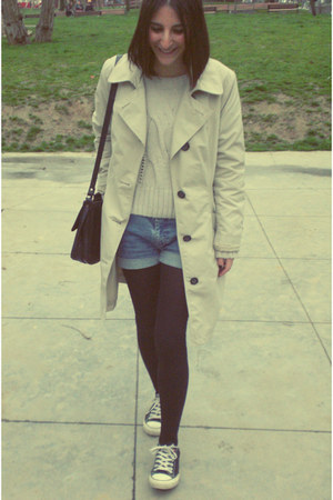 Marks&amp;Spencer coat - vintage bag - vintage shorts - Bershka jumper - Converse sn