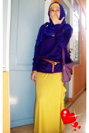 purple rubber Crocs shoes - mustard cotton lovelylolly dress