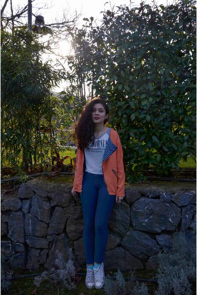 carrot orange romwe jacket - blue Sustilo leggings