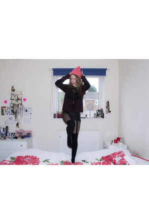 black suspender new look tights - hot pink River Island hat - black H&M shorts
