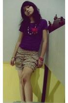 tan shorts - hot pink necklace - deep purple blouse