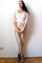 gold Vintage Cerutti pants - tan suede chunky asos boots