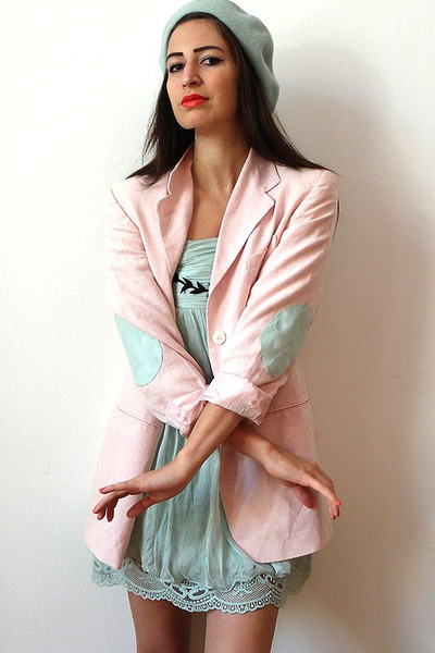 light pink vintage blazer - light blue Moschino dress