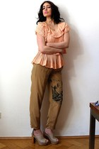 light brown vintage pants - salmon Philipp Lim top