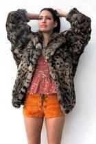 brown vintage from Ebay jacket - orange vintage shorts - coral sequined deep v v