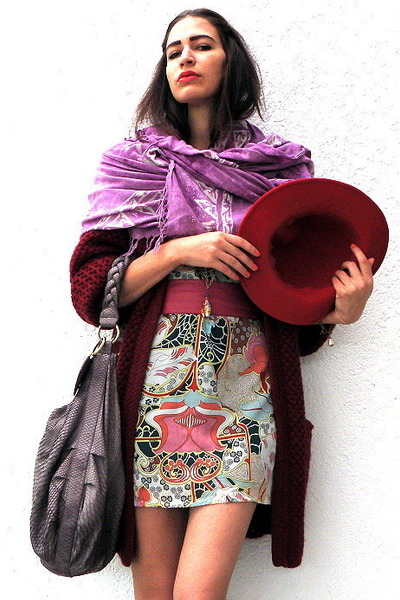 eggshell Hand Made dress - ruby red vintage coat - amethyst vintage scarf - puce