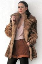 light brown vintage coat - tawny vintage shorts - peach deep v beaded vintage to