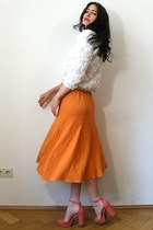 orange silk knit vintage skirt - cream soutache rose American Apparel sweater