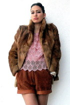 salmon vintage dress - burnt orange fox fur tapered vintage coat - brick red vin