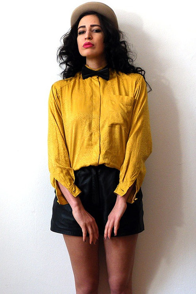 mustard silk charmeuse vintage blouse - camel felt vintage hat