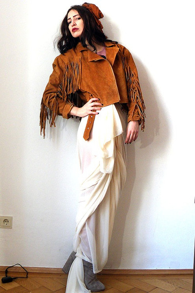 burnt orange vintage jacket - tan suede leather asos boots - cream vintage skirt