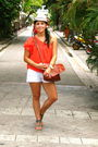 Orange-top-white-f21-shorts-silver-f21-shoes-brown-vintage-bag