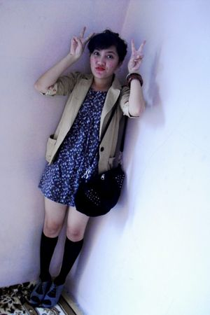beige blazer - black socks