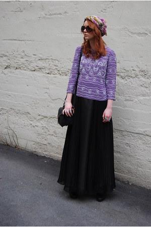 used as turban scarf - black mini satchel GINA TRICOT bag - light purple beaded
