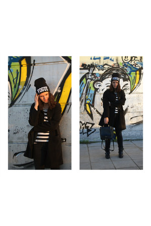 black Choies hat - black PERSUNMALL bag - black AHAISHOPPING top