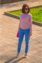 light pink wool JCrew sweater - hot pink JCrew purse