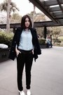 Navy-coat-sky-blue-shana-shirt-black-zara-pants-white-heels