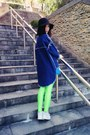 Navy-coat-black-hat-lime-green-h-m-leggings-light-blue-sneakers