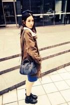 black Din Sko boots - army green coat - navy Zara bag - blue NET skirt
