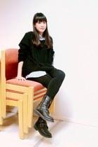 black leather boots - black sweater - sky blue shirt - black tights