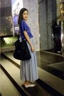 Black-zara-bag-silver-loafers-violet-skirt-blue-t-shirt